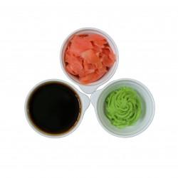 Extra sojasaus, wasabi, gember